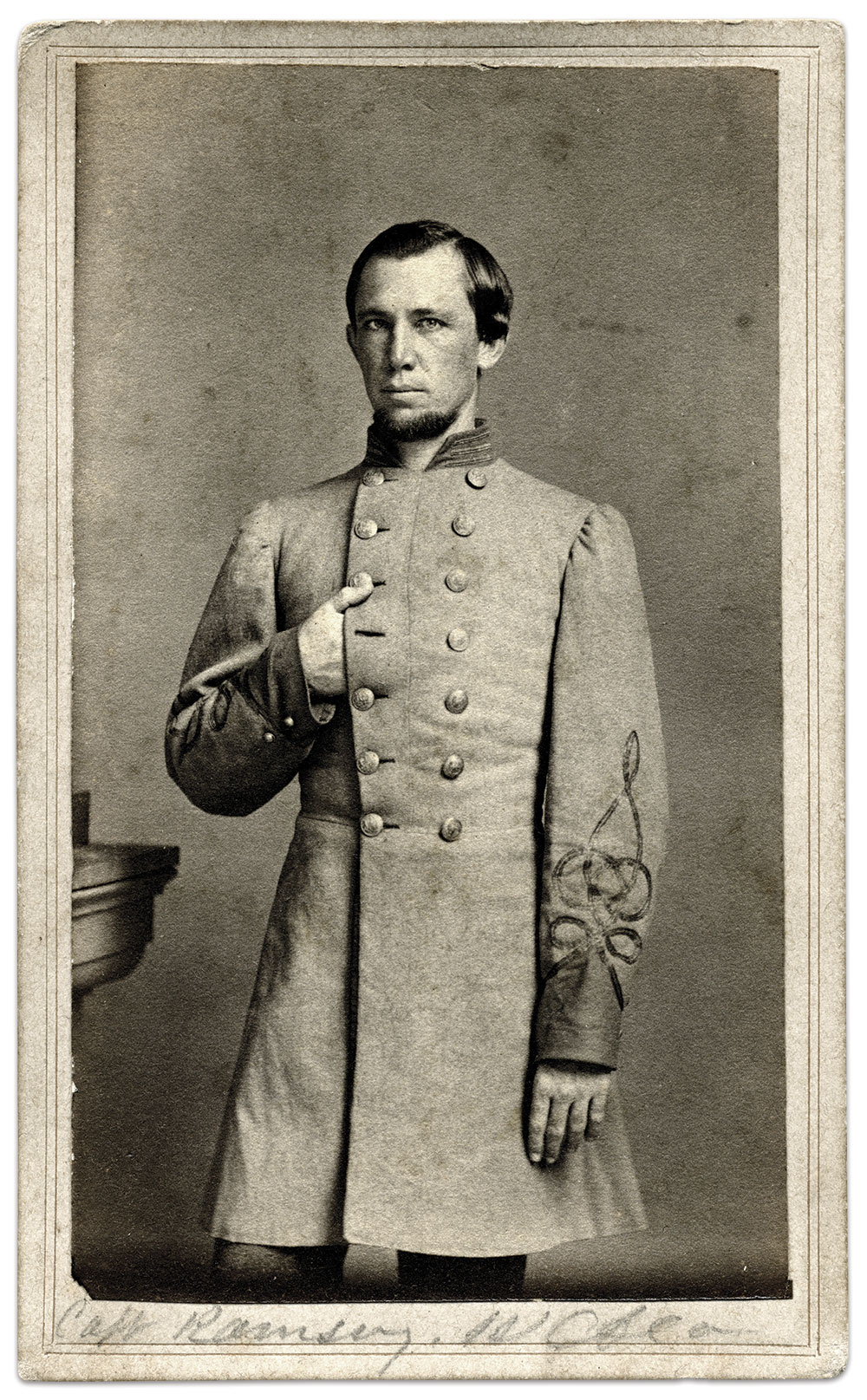 Capt. David Wardlaw Ramsey poses Napoleon-style after a prisoner of war stint in New Orleans. Carte de visite by Samuel Anderson & Samuel (or Solomon) T. Blessing of New Orleans, Louisiana. David W. Vaughan Collection.