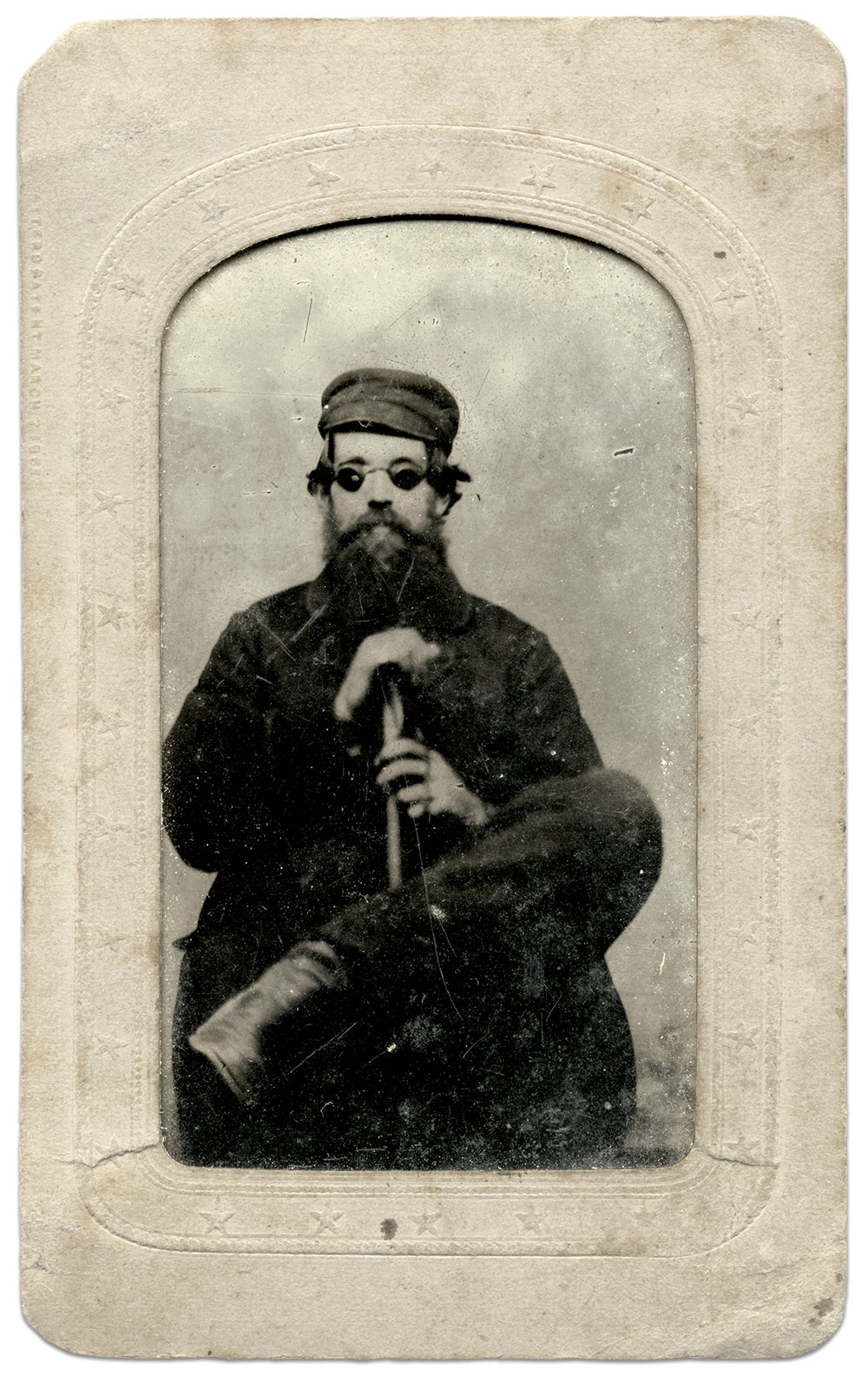 Joe Parsons with cane and eyeglasses. Eighth-plate tintype by an anonymous photographer. Author's Collection.