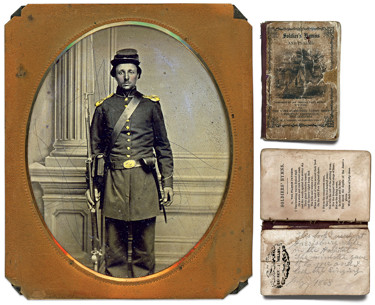 Miller's portrait at psalm book. Sixth-plate tintype by an anonymous photographer. Charles Joyce Collection.