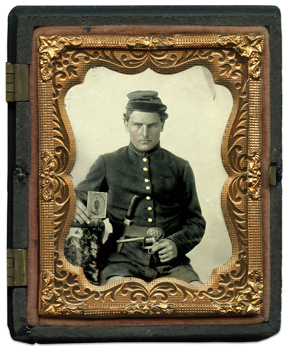 Ninth-plate ruby ambrotype by an anonymous photographer. Kevin Canberg Collection.