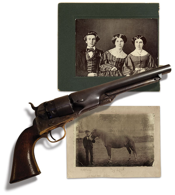 """Top: A young Peirce is pictured with sisters Amelia M. and Ellen E. in this post-war copy of a circa 1858 daguerreotype. Bottom: Peirce's revolver and """"Pony Mack"""" survived him. Myrna Peirce and Joseph W. Cagnina Family Collection."""