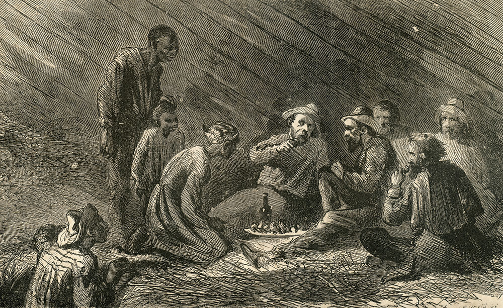 """""""Escaping Prisoners Fed by Negroes in Their Master's Barn"""" is the title of this engraving that appeared in Richardson's war memoirs. Richardson and Browne, along with loyal Union men who aided their escape through North Carolina and Tennessee, are pictured."""