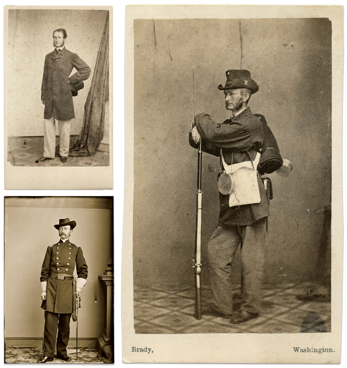 Top, left: In civilian clothes, about 1861. Carte de visite by Frank Rowell of Providence, R.I. Rick Carlile Collection. Bottom, left: As a colonel, about 1865. Library of Congress. Right: Carte de visite by Mathew B. Brady of Washington, D.C. Rick Carlile Collection.