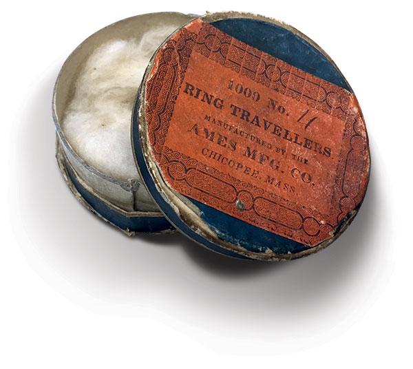 The cylindrical box of ring travellers was used in cotton-spinning machines.