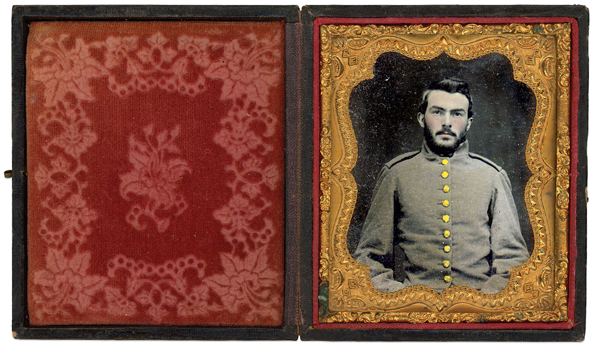 Sixth-plate ruby ambrotype by an unidentified photographer. B.T. Rollins Collection.