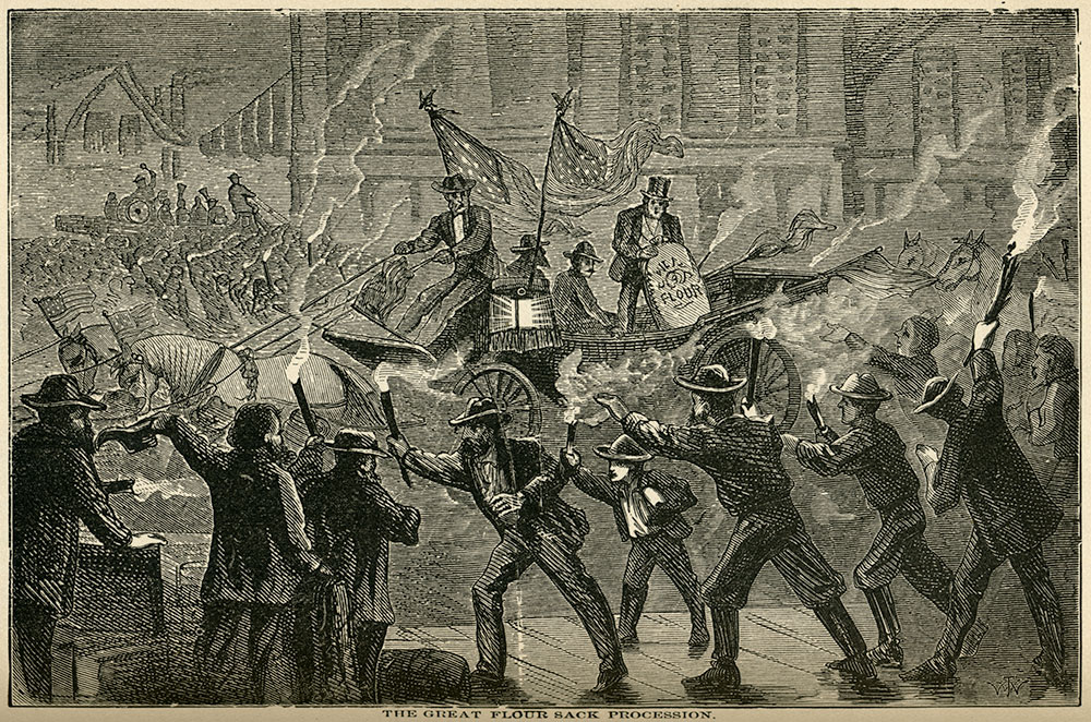 """""""The Great Flour Sack Procession"""" from Mark Twain's Roughing It."""