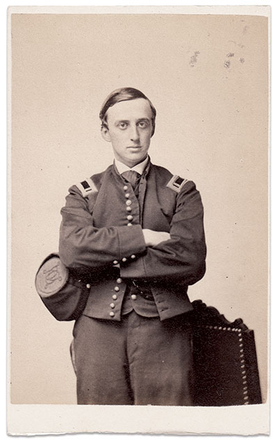 Cabot Jackson Russell pictured as first lieutenant in the 54th Massachusetts Infantry, circa March-May 1863.Carte de visite by John A. Whipple of Boston, Mass. Author's collection.