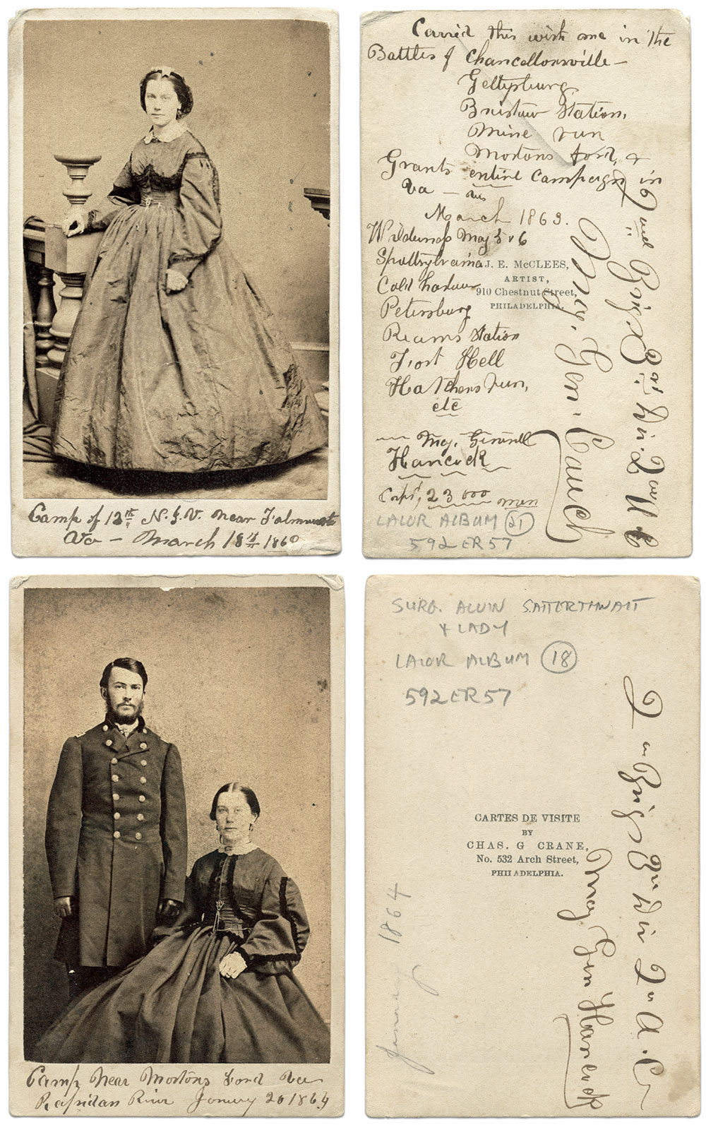 Cartes de visite by Philadelphia photographers James E. McClees, right, and Charles G. Crane.