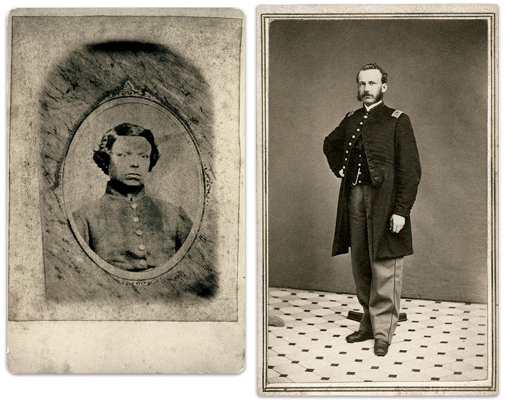 Partridge, left, pictured in a memorial portrait made after his death. 1st Lt. Joseph B. Knox, right, who served in the 25th Massachusetts and the U.S. Signal Corps, shared the news of Partridge's plight with his family. Cartes de visite of Partridge by an anonymous photographer and Knox by J.D. Vickery of Bath, N.Y. Mark Savolis Collection.
