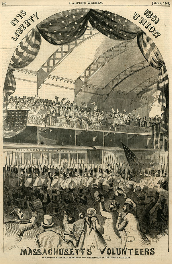 Throngs of Bostonians cheered their state volunteers on toward trains to carry them to Washington. This illustration appeared in the May 4, 1861, issue of Harper's Weekly.