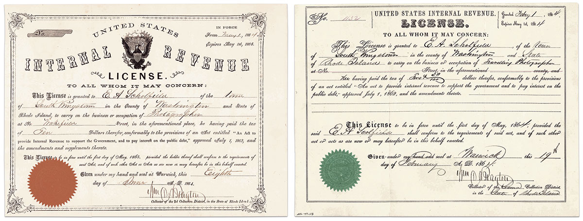 LEFT: License issued to Everett Augustus Scholfield of South Kingstown, R.I., when he set up shop in late 1864. Based on the fee of $10, his income as a photographer would have been less than $500 annually; RIGHT: A temporary traveling photographer's license issued to Scholfield in February 1864. He had previously served a three-month enlistment in the 9th Rhode Island Infantry. He learned the art of photography from his father, Edwin, in the 1850s and continued in the trade until 1912. Courtesy Mystic Seaport Museum.