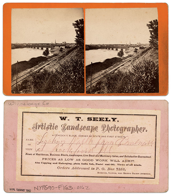 """""""Looking north from Winnebago County at Rockford, Ill."""" Stereocard by William T. Seely. The Miriam and Ira D. Wallach Division of Art, Prints and Photographs: Photography Collection, The New York Public Library, New York City."""