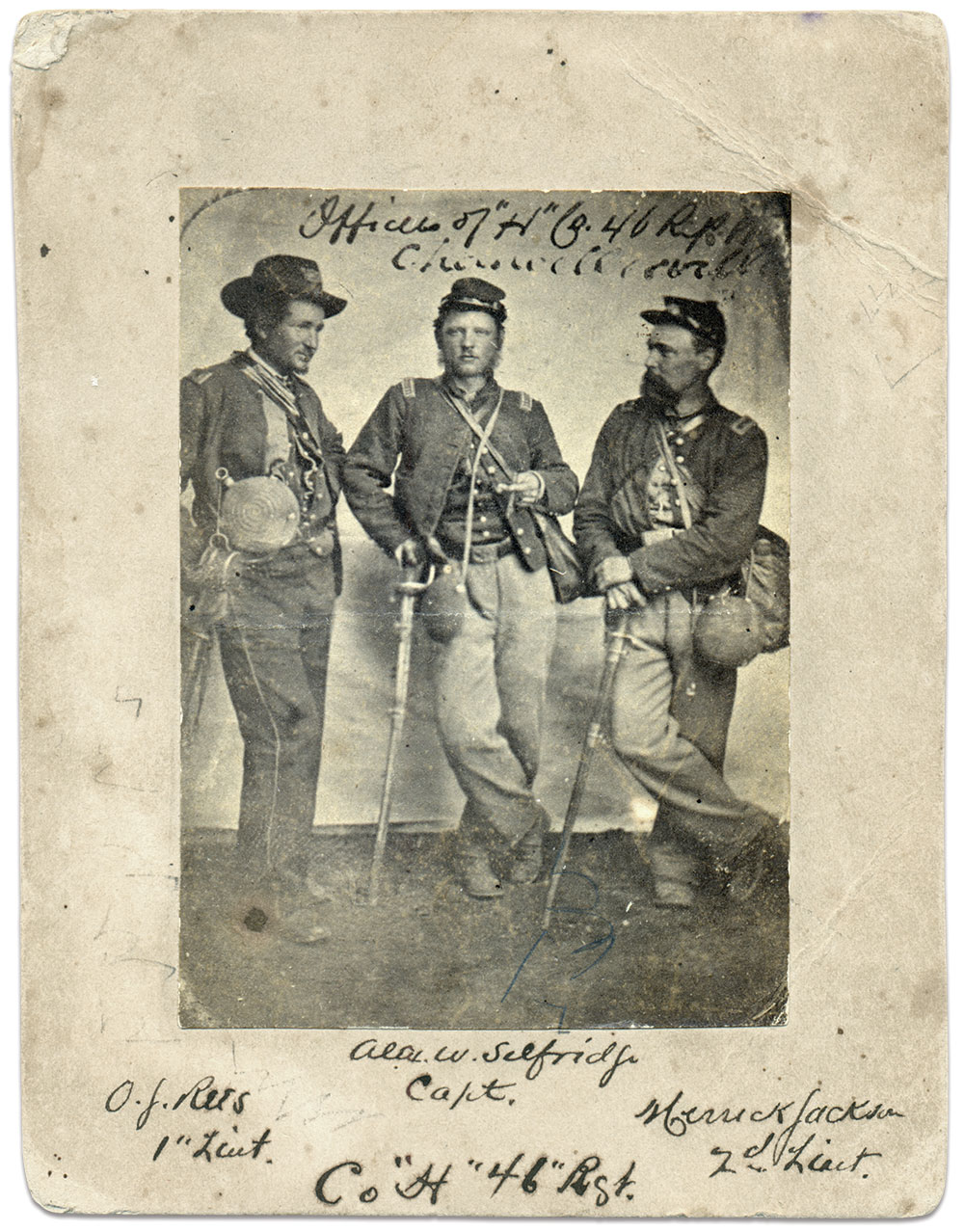 Capt. Selfridge and two of his lieutenants, Orlando J. Rees and Merrick Jackson. Both subordinates survived the Battle of Cedar Mountain and the rest of the war.Albumen copy print of a hard-plate image. Robinson Family Collection.