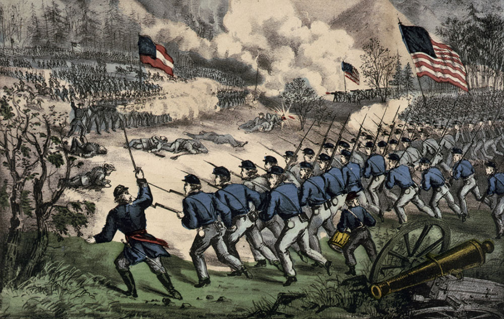 """""""The Battle at Cedar Mountain, Aug. 9th, 1862. Charge of Crawford's Brigade on the Right"""" is the title of this lithograph by Currier & Ives."""