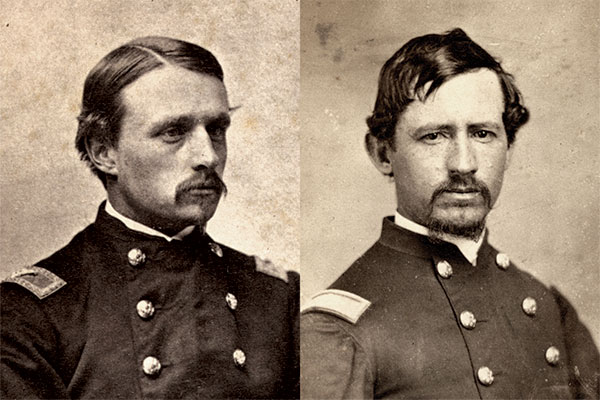 Similar mindset: Just as Col. Robert Gould Shaw, left, persuaded his superiors to allow his 54th Massachusetts Infantry to fight, Col. Morgan convinced his commanding officers to take his men on several expeditions. Library of Congress; Vincent Caviglia Collection.