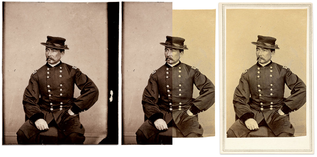 """TWO PRINTS, A CENTURY-AND-A-HALF APART: Maj. Gen. Philip H. Sheridan is pictured in a modern albumen print, left, made from a carte de visite negative in the National Portrait Gallery's Frederick Hill Meserve Collection for the 2012 exhibit """"Mathew Brady's Photographs of Union Generals."""" The vivid eggplant hues are consistent with 19th century standards. The original carte de visite, right, shows the normal yellowing that affects albumen prints over time. There is no evidence of fading or foxing, which suggests it was kept in relative stable conditions and not overly exposed to moisture. National Portrait Gallery, Tom Glass Collection."""