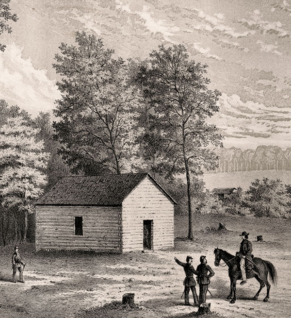 """A detail of the engraving """"Shiloh Church"""" by Pvt. Mathews, 1862. Library of Congress."""