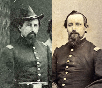 George Edwin Heath (1834-1905), right, is the mystery officer. Formerly a corporal in the 10th New Hampshire Infantry, he became a first lieutenant in the 6th U.S. Colored Infantry and post adjutant of Camp William Penn in Philadelphia. Library Company of Philadelphia, Library of Congress.