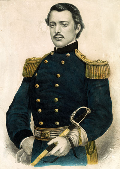 Gov. William Sprague as a brigadier general, a rank he was offered but did not accept. Lithograph by Currier & Ives of New York City. Library of Congress.