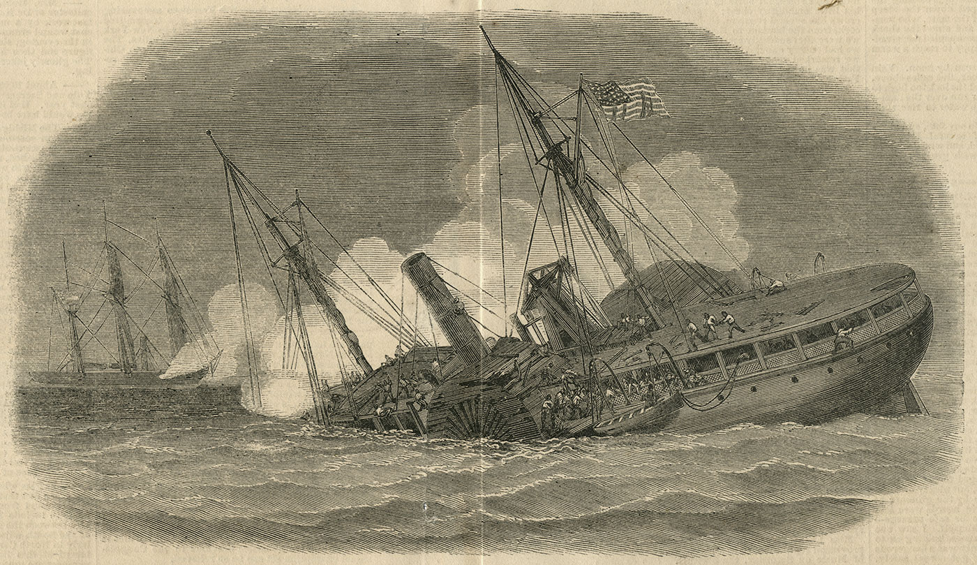 """""""The sinking of the U.S. armed transport Hatteras, Capt. Blake, by a rebel cruiser, supposed to be the famous Alabama,"""" appeared in the Feb. 14, 1863, issue of Frank Leslie's Illustrated Newspaper."""
