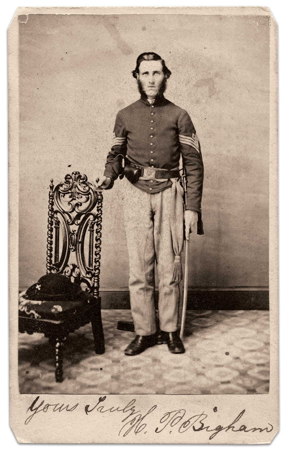 Bigham, pictured as a first sergeant. Carte de visite by Tyson Brothers of Gettysburg, Pa. Author's Collection.