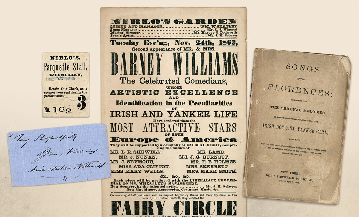 Relics from the Williams Empire: An autograph, broadside and book of collected songs stand  as a memorial to the popularity of the Irish Boy and Yankee Girl.