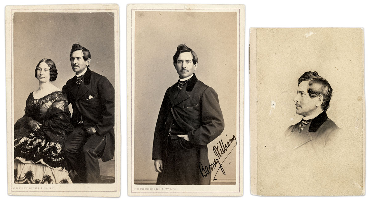 Celebrity Faces: Countless carte de visite albums included the likeness of Maria and Barney Williams. The portraits on the left and center were made in the New York City gallery of Charles D. Fredricks. The image on the right is credited to another New Yorker, J.H. Bigelow, a retail and wholesale seller of photographs.
