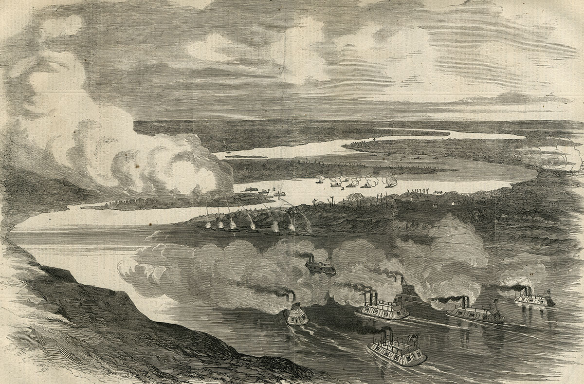 """""""Birds-eye view of the attack on the rebel batteries on and near Island Number Ten,"""" pictured in the April 5, 1862, issue of Harper's Weekly."""