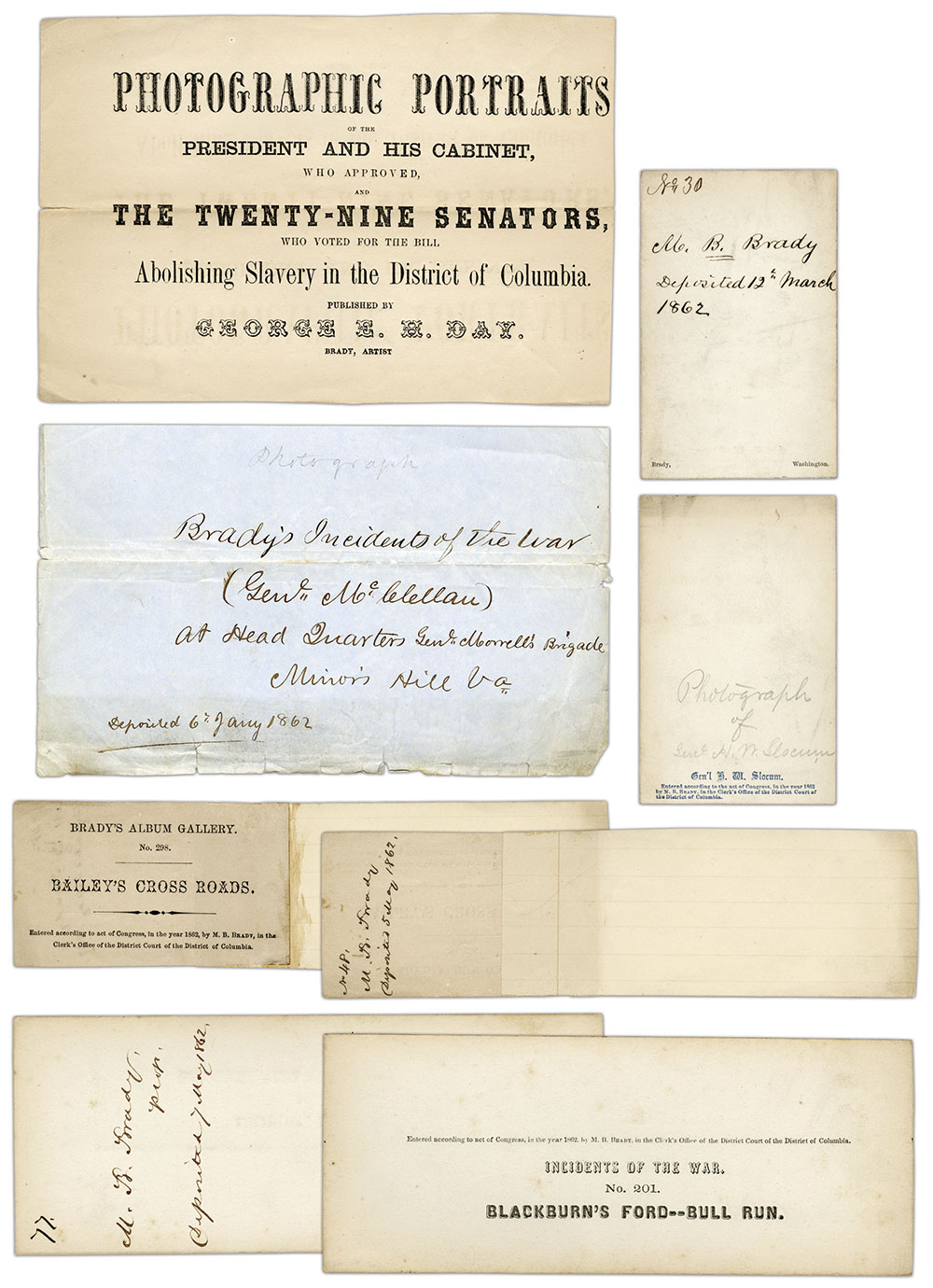Unique Title Pages: Without having an official government form to submit copyrights, photographers used a variety of papers—from photographic mounts to envelopes—for title pages. These examples were found in the files of the Library of Congress. All relate to Mathew Brady.