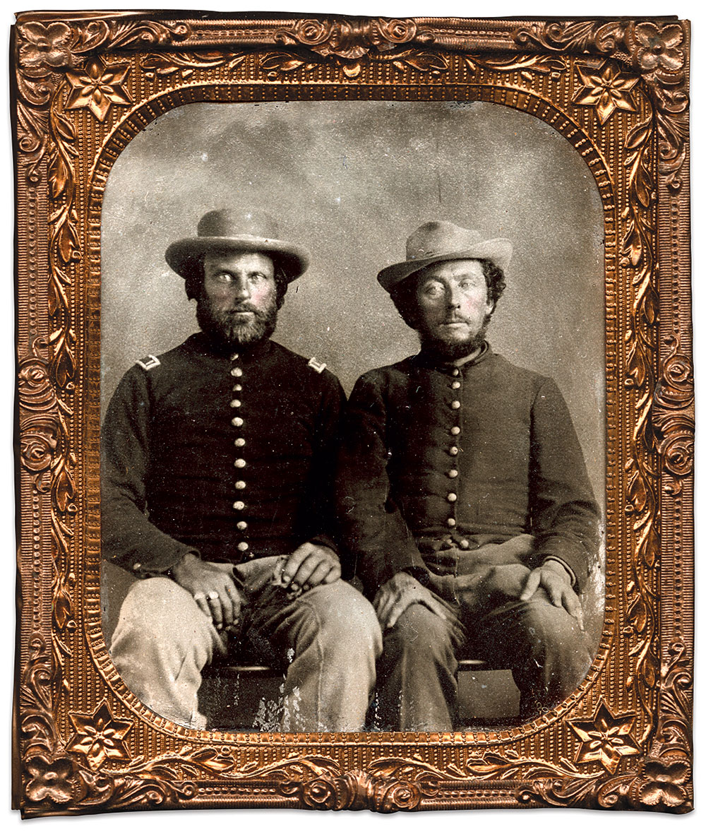 Blue and Gray, side by side: Edward A. Fowlkes, a Mexican War veteran, served in the Union 12th Tennessee Cavalry. He is pictured here, seated on the left, as a first lieutenant, a rank he earned in May 1865. Next to him sits brother Gabriel, or Gabe, who served in the Confederate 11th Tennessee Infantry. He wears an enlisted man's jacket.  The brothers sat for this portrait about October 1865, when Edward mustered out of the Union army. Sixth-plate tintype by an anonymous photographer. Author's Collection.