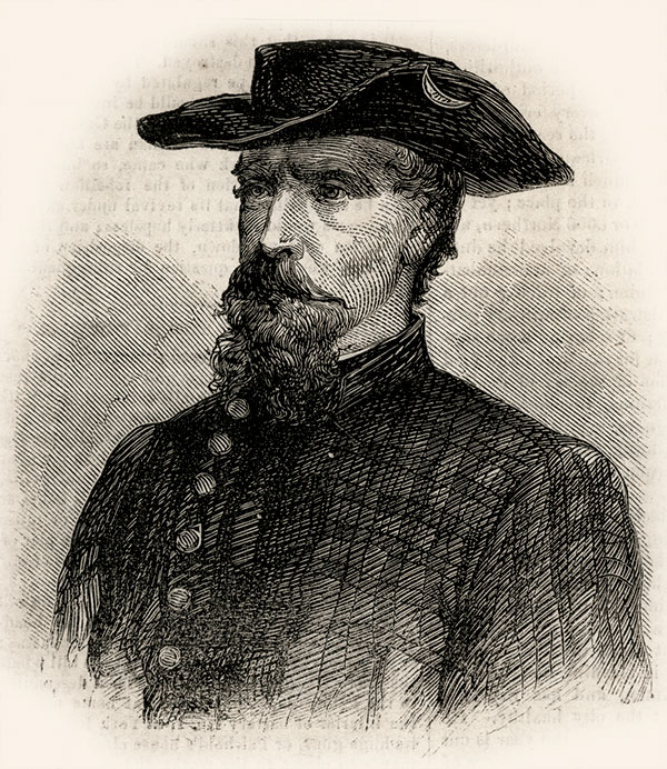 """TECHNOLOGICAL WAR: John Hunt Morgan, pictured here in an August 1862 Harper's Weekly engraving captioned """"The Highwayman of Kentucky,"""" relied on Ellsworth to hack enemy telegraphs."""