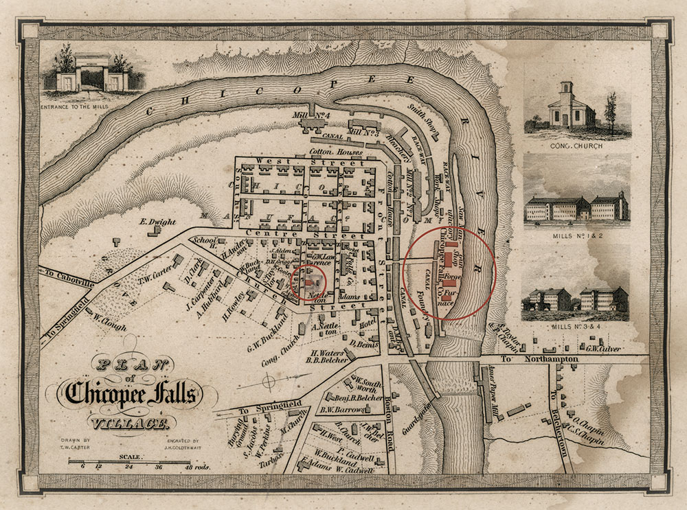 This map was drawn by Timothy W. Carter in the 1830s and was once the property of the Ames estate. Highlighted in red are the four Ames factory buildings and the Court Street home in which the Ames brothers resided.