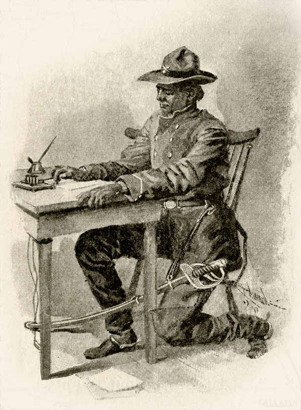 SHREWD TELEGRAPHER: This artist's rendering depicts Ellsworth as decidedly older and without a mustache. The illustration appeared in Stories of Indiana, published in 1898.