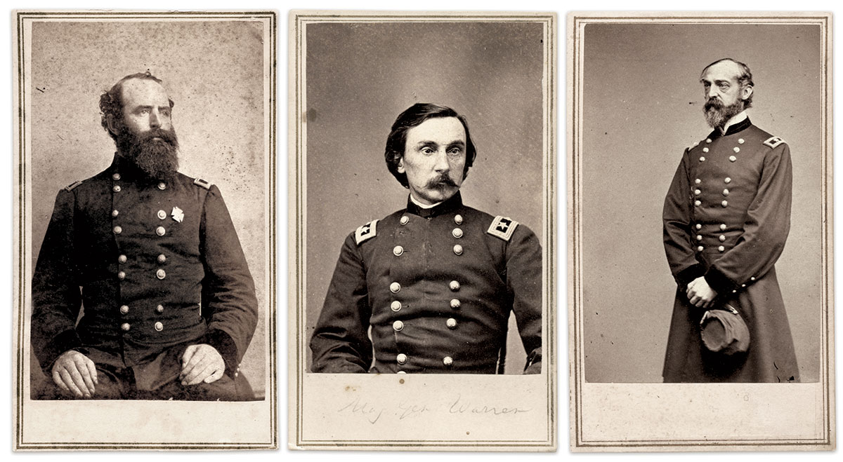 MAJOR GENERALS WITH A HAND IN WILLIAMS' FATE: The Second Division's Romeyn B. Ayres, Gouverneur K. Warren of the Fifth Corps, and Army of the Potomac commander George G. Meade. Cartes de visite by Mathew B. Brady of New York City and Washington, D.C. Tom Glass Collection.