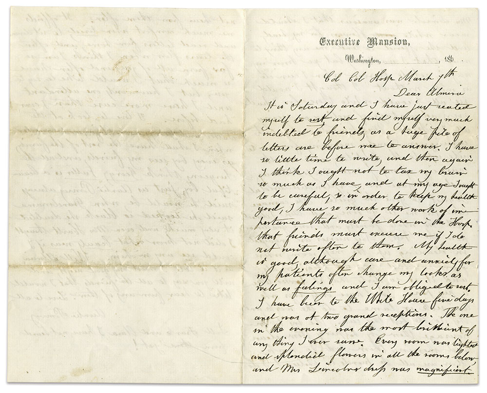 """In this letter penned on White House stationary to her friend and future daughter-in-law, Almira S. Belcher, Pomroy reports, """"My health is good, although care and anxiety for my patients often change my looks as well as feelings."""""""