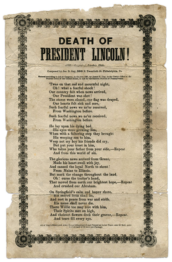 This poem is one of many patriotic works written and set to music by Philadelphian James D. Gay.