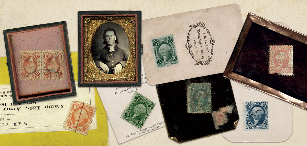 CASE STUDIES (from left): The ink line on this 2-cent Internal Revenue stamp does not extend on to the mount of this stereo card—evidence that it was illegally precanceled. It also lacks the photographer's initials and date required by law; If a photographer sold an image inside the case, both items were taxed—which explains the pair of 5-cent stamps here. Had the photographer sold them separately only the photo would have been taxed; A 3-cent proprietary revenue stamp; Some photographers illegally used standard postage stamps when short on tax stamps, as evidenced by the partial remains of the red stamp on the back of this tintype; A rare 3-cent Telegraph Stamp; The cancellation date on this stamp, August 1864, marks the very beginning of the sun tax; Philatelic historians note that the playing card revenue stamp was released for use by photographers for a short time in 1866.