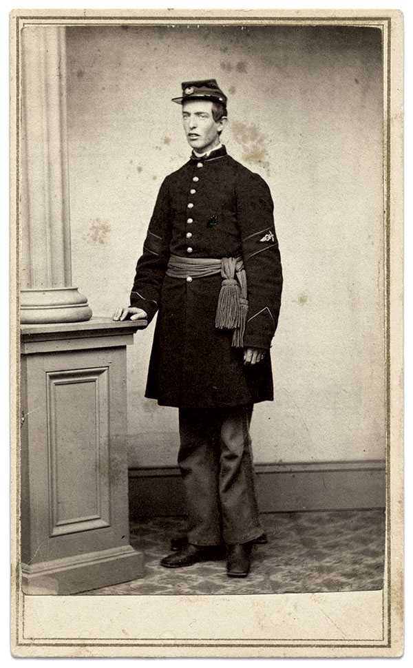 """In the fall of 1862, Algernon Marble Squier of the 9th Vermont Infantry remained with sick and wounded soldiers at Harpers Ferry, Va., when the Union garrison surrendered to Confederates commanded by Maj. Gen. Thomas J. """"Stonewall"""" Jackson. After a formal exchange, he returned to active duty as a hospital steward. He transferred to the regular army in 1865 and continued his service in the same capacity. He graduated from Georgetown Medical College in 1867 and joined the ranks of contract surgeons employed by the U.S. Army. In July 1867, while on his first assignment, Squier was credited with saving the lives of 36 soldiers from the 18th Kansas Cavalry who had contracted cholera en route from Fort Harker to Fort Larned, Kansas. Unfortunately he also became ill with cholera and succumbed to the disease. Carte de visite by Charles Allen of Claremont, N.H. Ronald S. Coddington Collection."""