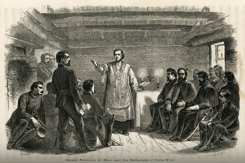 Engraving of Chaplain Trecy at Stones River from Annals of the Army of the Cumberland by John Fitch.