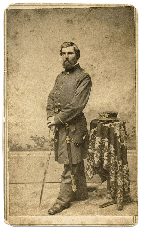 Stover likely posed for this carte de visite at the same time he sat for the albumen portrait pictured on the previous page.Carte de visite by Alfred W. Jacobs of Brooklyn, N.Y.