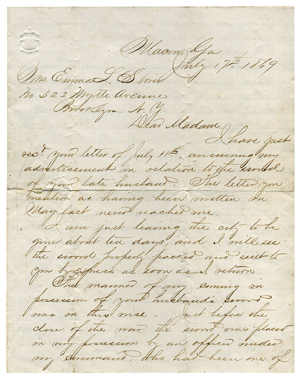 In 1869, ex-Confederate Capt. William W. Carnes sent this letter to Emma Stover to explain that he was returning her Late husband's sword.