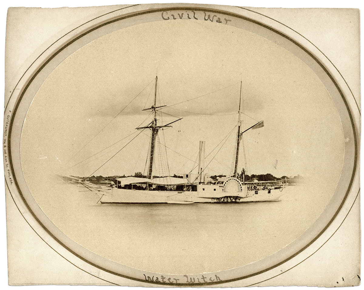 The Water Witch, built in 1851 at the Washington Navy Yard, was best known before the war for an 1855 incident in which one crewman was killed after the garrison of a Paraguayan fort fired on the vessel. This portait may have been made in late 1860 or early 1861, when the Water Witch underwent routine repairs at the Philadelphia Navy Yard.Albumen print by Frederick Gutekunst of Philadelphia, Pa.