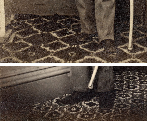 The Tyson Brothers used two different carpets in their studio, as evidenced by these details in the Strack, top, and Whedon portraits. The absent column in the Strack image indicates it was portable.