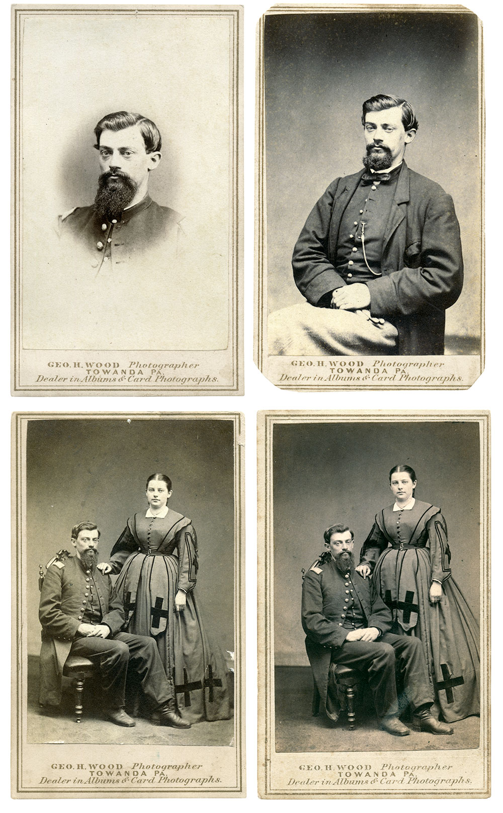 Cartes de visite by George Wood of Towanda, Pa. Collection of Andy Kmiec.