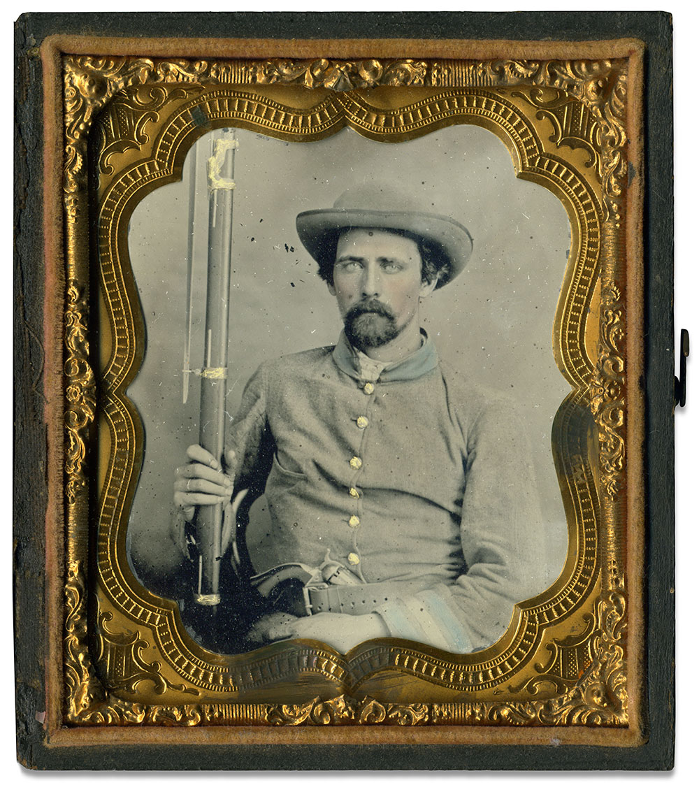 """Sixth-plate tintype by an anonymous photographer. John M. """"Mike"""" Hunt collection."""