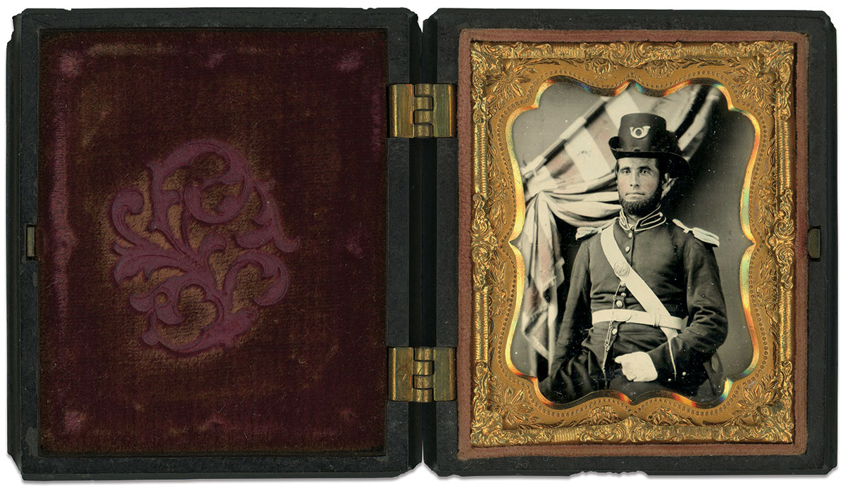 Ninth-plate ruby ambrotype by an anonymous photographer. Dan Binder Collection.