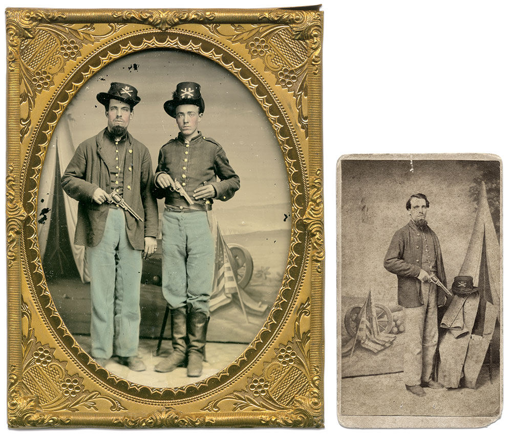 Carte de visite, right, and quarter-plate ambrotype, far right, by an anonymous photographer. Bill Simmermacher Collection.