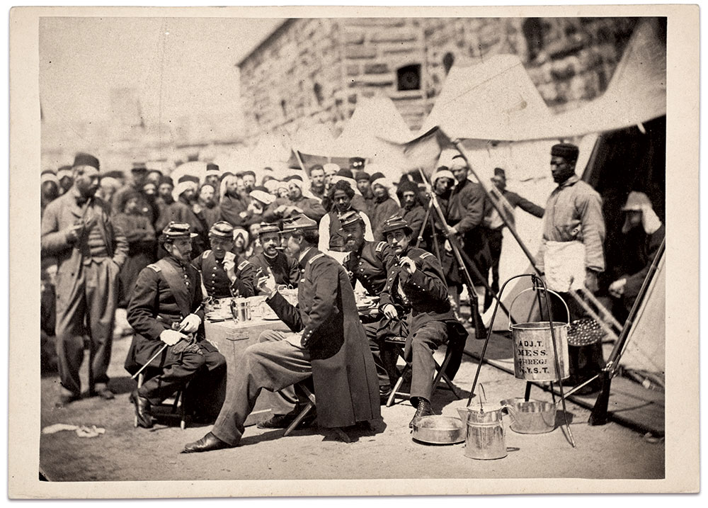 Adjutant's mess: Stacy photographed this group of officers from the 5th at Fort Schuyler.Albumen print from the collections of The Metropolitan Museum of Art.