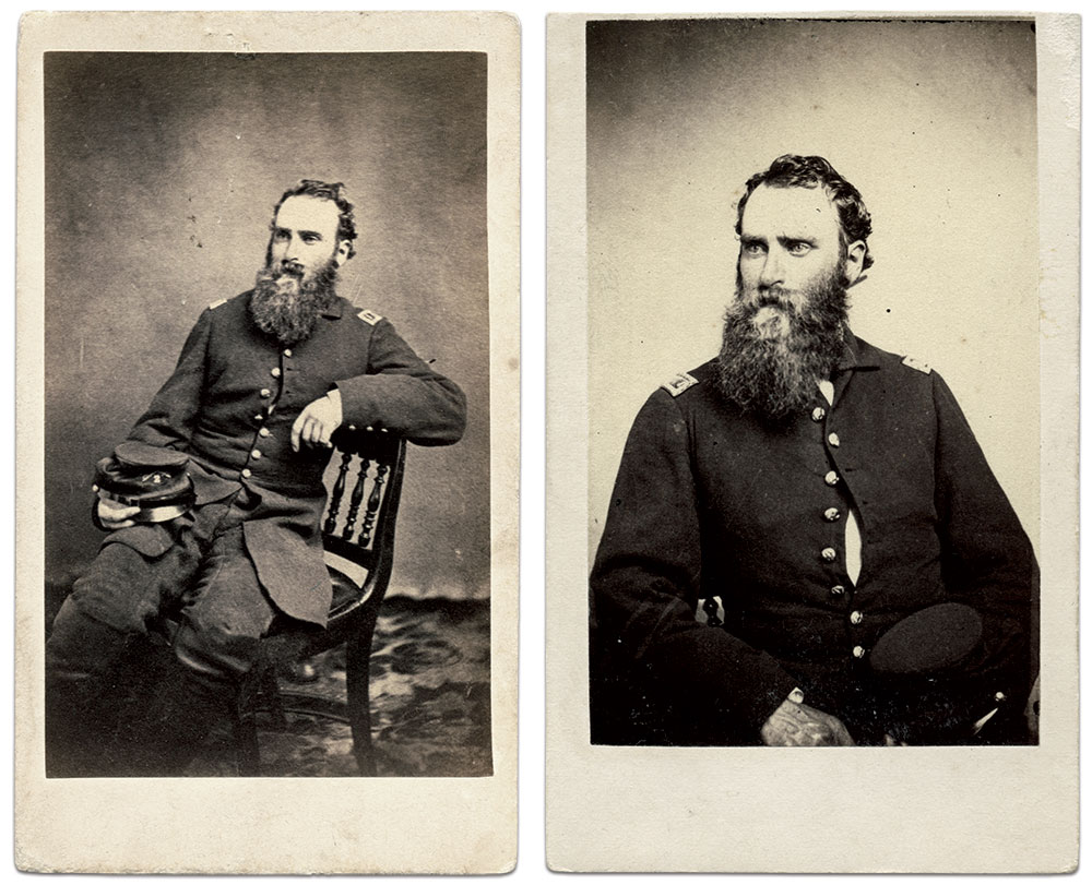 Cartes de visite of Tompkins by Joseph Ward of Boston, Mass., left, and Edward Anthony of New York City. Rick Carlile Collection.