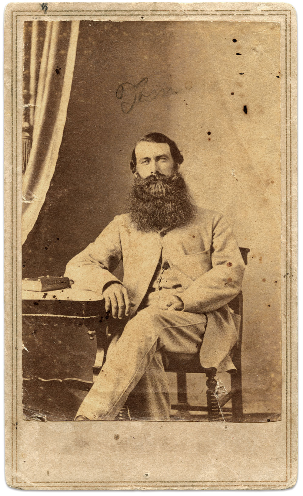 Pilot Thomas Mann Thompson, pictured in Bermuda during the summer of 1864. A native of Smithville (now, Southport), N.C., Thompson is credited with having made more runs through the blockade, and on more vessels, than any other pilot. To his credit, he was never captured despite making over thirty runs through the blockade. Fred D. Taylor Collection.